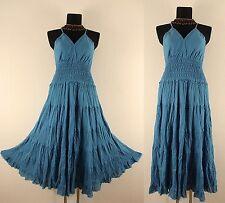 T 54 56 58 turquoise bleu Empire Robe D'été moyen âge Pendant Vintage Hippie 70er