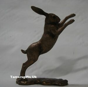 Cold Cast  Bronze Reflections Boxing Hare Statue Ornament Sculpture 28619