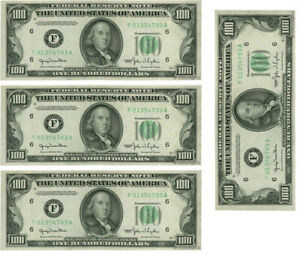 $100 Dollar x 4 Notes printed on Edible Icing sheet, cake toppers