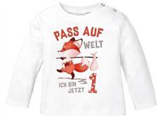 Baby Langarm-Shirt 1. Geburtstag  Pass auf Welt ich bin jetzt 1 2 Fuchs
