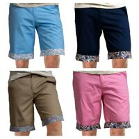 Russell & Giles Men`s Chino Shorts with Paisley Trim Waist 30-32-34-36-38-40-42""