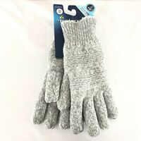 Isotoner Womens Gloves Knit Sherpa Lined SmartDri Water Resistant Gray One Size
