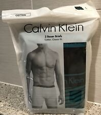 CALVIN KLEIN 2 BOXER BRIEFS CLASSIC FIT BLACK/GREEN LARGE - NEW $34.50