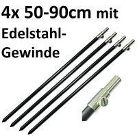 4x Bank Stick 50-90cm Alu Black Label leicht für Stalking Rod Rest schwarz