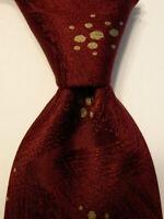 GIORGIO ARMANI Vintage Men's 100% Silk Necktie ITALY Geometric Burgundy/Tan EUC