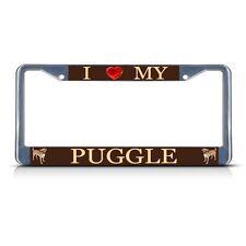 I Love My Puggle Dog Heavy Duty Metal License Plate Frame Tag Border