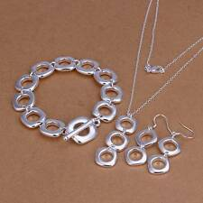 925Sterling Solid Silver Fashion Square Bracelet Earrings Necklace Jewelry Sets