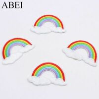 10pcs Embroidered DIY Rainbow Cloudy Patches Iron On Fabric Sticker Sewing Jeans