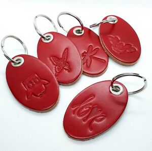 Red Leather Key ring Owl, Love, Flowers, Dragonfly, Butterfly key fob, charm