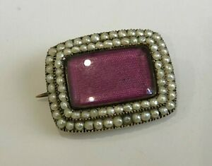 Georgian 15k solid gold & natural pearl mourning brooch 4.88g