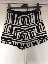 RIVER ISLAND Women's Party Black and White Printed Smart Shorts~Sz 6 ~Monochrome