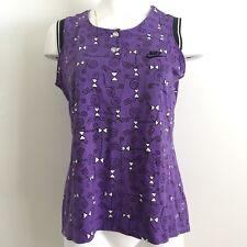 Nike Womens Top M Vintage 90s Sleeveless Purple Henley 10 12 Streetwear Athletic