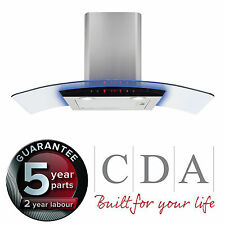 CDA EKP90SS 90cm Multi Colour LED Curved Glass Stainless Steel Cooker Hood