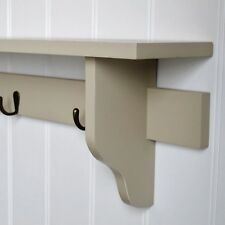 Cream Beige Coat Rack Wall Shelf 3 Hooks Wooden Painted