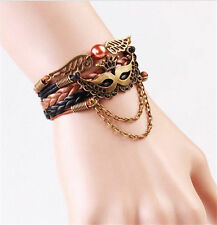 NEW Infinity Masks Crown Friendship Antique Copper Leather Charm Bracelet  D23