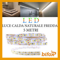 STRISCIA 600 LED 2835 STRIP 45W 12V 5 MT SMD BOBINA ADESIVA LUCE ALTA LUMINOSITA
