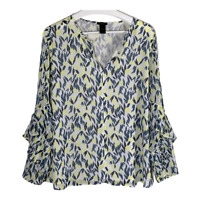 Ann Taylor Womens Top V Neck Long Ruffle Sleeves Blouse Shirt Ladies Size Large
