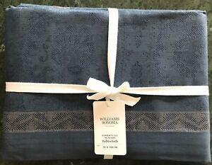 "William Sonoma Sorrento Tile Jacquard Tablecloth, 70"" X 108"", $169.95, New."