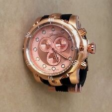 GENEVA Oversize Men's Rose Gold Watch Black Rubber Bullet Band Cool Watch New!