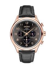 NEW Seiko SSC566 Solar Chronograph Men's Watch Rose Gold Black Leather Strap