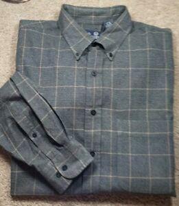 VIYELLA LANDS END-Gray  Cotton/Wool, Mens LS/BD, Casual Fall Shirt-(XLT)