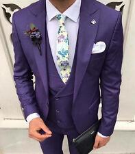 DESIGNER SUIT BUSINESS Purple Violet Suit Jacket Trousers Vest Fitted Slim