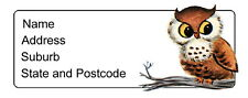 30 Personalised Quality Plus Adhesive Address Labels - Owl Sitting on a Branch
