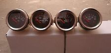"Gauges Set ( 4 pc) - Oil Pressure + Temp + Volt + Fuel Gauge 2"" Electric Chrome"