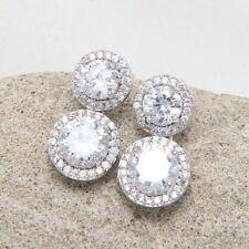 Diamante Round Cubic Zirconia CZ Bridal Drop Dangle Stud Earrings Birthday Gift