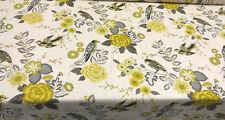 Richloom Bountiful Birds Dandelion Linen Blend Upholstery Fabric by the yard
