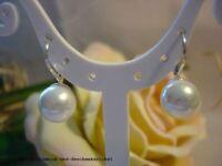 Ohrringe Ohrboutons mit Muschelkernperlen 8mm Weiß Rund, 925er Silber , Geschenk