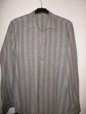 Flanellhemd von Walbusch grau mit dünnen roten Streifen Gr. 41/42