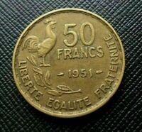 Pièce de monnaie 50 Francs Guiraud ancienne rare 1951 RépubliqueFrançaise