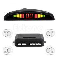 LED Display Car 4 Parking Sensor Reverse Audio Backup Radar Alarm System White