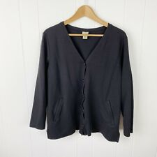 LL Bean Womens L Large Petite Knit Cardigan Black Soft Cotton Button Front K10