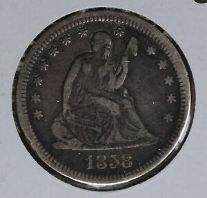 Problem-Free 1858 Seated Liberty Quarter!   Strong Very Fine Condition!