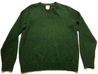 LL Bean Mens Green Long Sleeve V-Neck Sweater Size Large Regular