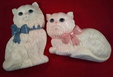 """WHITE LONG HAIRED CATS PLASTIC WALL HANGING -7.5"""" LONG"""