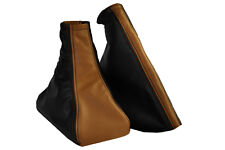 FITS VAUXHALL OPEL ASTRA G Mk4 COUPE/4 DOORS LEATHER BROWN  BLACK GAITERS SET