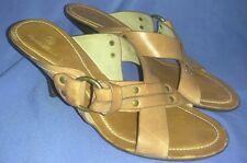 Women's Cole Haan Brown Leather Heels Sandals Mules Size 9.5B