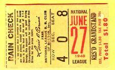 VINTAGE 1948 TICKET STUB-6/27/48 PIRATES/BRAVES