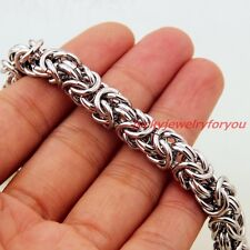 """Fashion 8mm Silver Stainless Steel Men's Cool Byzantine Chain Necklace 24"""""""