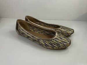 As New Ballet Style CORELLI FLATS - Woven Gold, Silver & Rose Gold US 9 Shoes