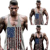 Men Stringer Bodybuilding Tank Top Gym Fitness T-shirt Singlet Muscle Tee Vest S