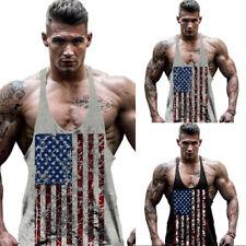 Men American Flag Stringer Bodybuilding Muscle Workout Gym Tank Top Vest T shirt
