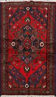 Geometric Hamedan Traditional Area Rug Wool Hand-Knotted Oriental Carpet 3x5 ft
