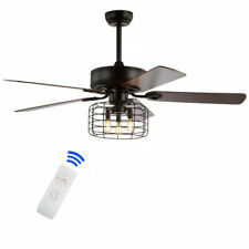 JONATHAN Y Asher 52 in. Forged Black 3-Light Industrial LED Ceiling Fan