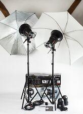 Calumet Genesis 400,  2 Head Studio Flash Kit + Stands, Brollies. Elinchrom Type
