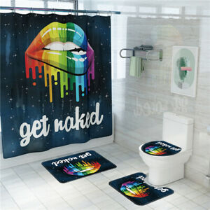 Sexy Lips Waterproof Shower Curtain Toilet Seat Cover Bath Mat Set Rug Non-Slip