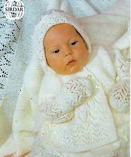 """Sirdar 3421 Vintage Baby Knitting Pattern Shawl Pram Set 3 ply 14-18"""" 0-9 months"""